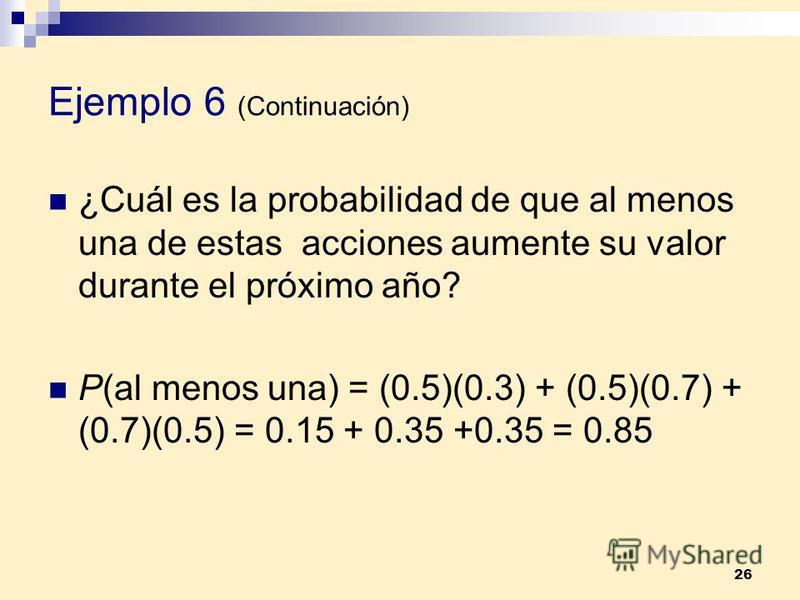 26 Ejemplo 6 (Continuación) ¿Cuál es la probabilidad de que al menos una de estas acciones aumente su valor durante el próximo año? P(al menos una) = (0.5)(0.3) + (0.5)(0.7) + (0.7)(0.5) = 0.15 + 0.35 +0.35 = 0.85