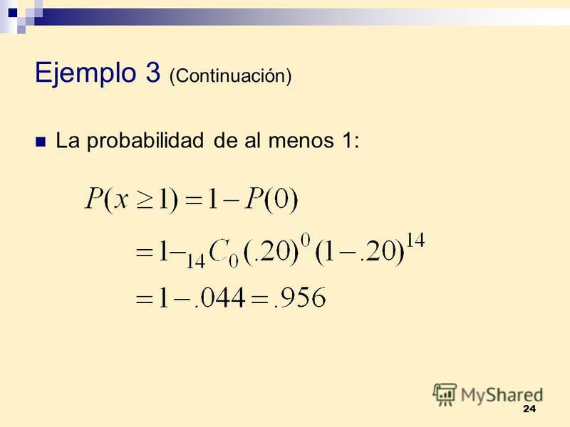 24 Ejemplo 3 (Continuación) La probabilidad de al menos 1: