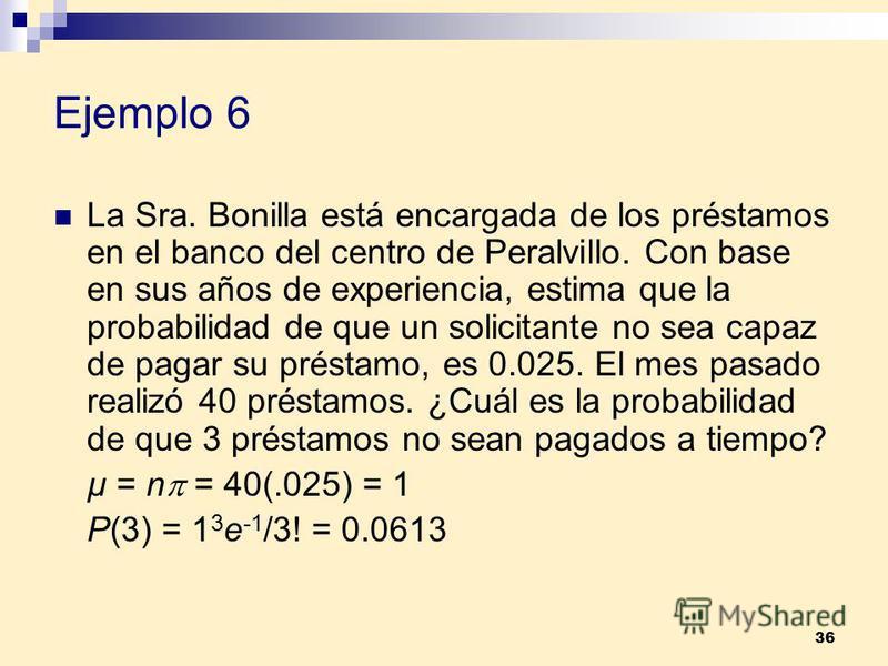 36 Ejemplo 6 La Sra. Bonilla está encargada de los préstamos en el banco del centro de Peralvillo. Con base en sus años de experiencia, estima que la probabilidad de que un solicitante no sea capaz de pagar su préstamo, es 0.025. El mes pasado realiz