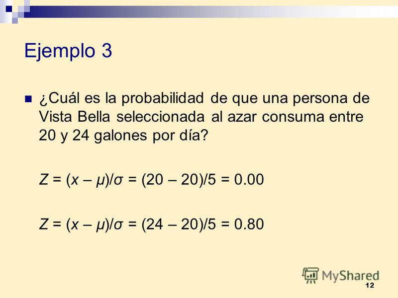 12 Ejemplo 3 ¿Cuál es la probabilidad de que una persona de Vista Bella seleccionada al azar consuma entre 20 y 24 galones por día? Z = (x – µ)/σ = (20 – 20)/5 = 0.00 Z = (x – µ)/σ = (24 – 20)/5 = 0.80
