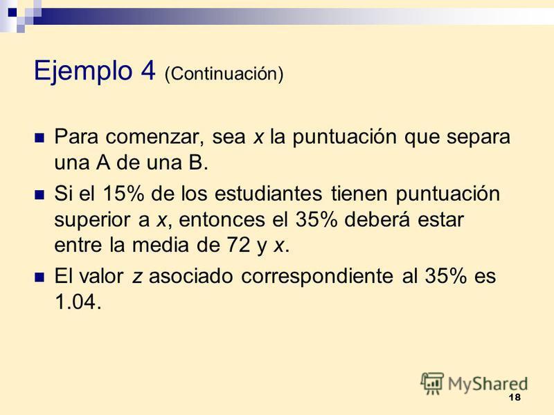 18 Ejemplo 4 (Continuación) Para comenzar, sea x la puntuación que separa una A de una B. Si el 15% de los estudiantes tienen puntuación superior a x, entonces el 35% deberá estar entre la media de 72 y x. El valor z asociado correspondiente al 35% e