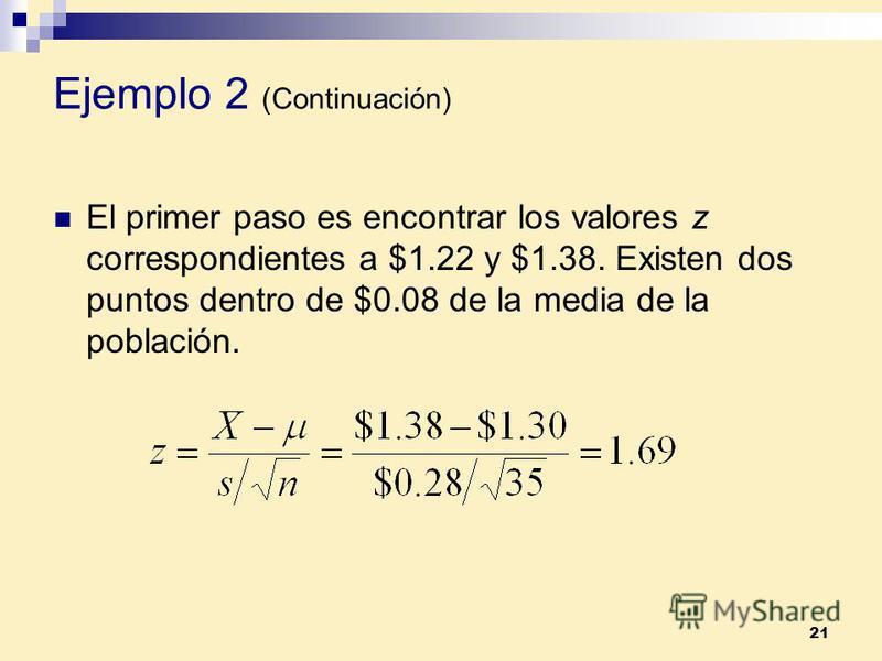 21 El primer paso es encontrar los valores z correspondientes a $1.22 y $1.38. Existen dos puntos dentro de $0.08 de la media de la población. Ejemplo 2 (Continuación)