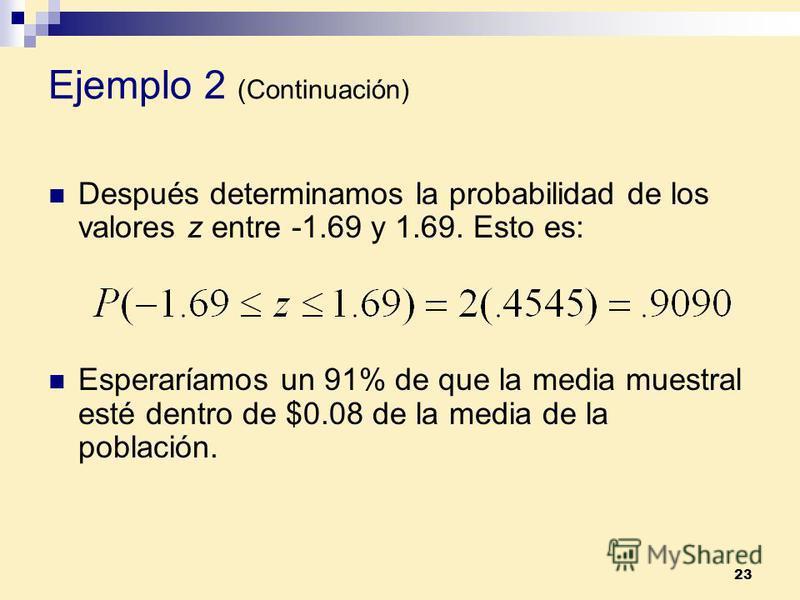 23 Después determinamos la probabilidad de los valores z entre -1.69 y 1.69. Esto es: Esperaríamos un 91% de que la media muestral esté dentro de $0.08 de la media de la población. Ejemplo 2 (Continuación)