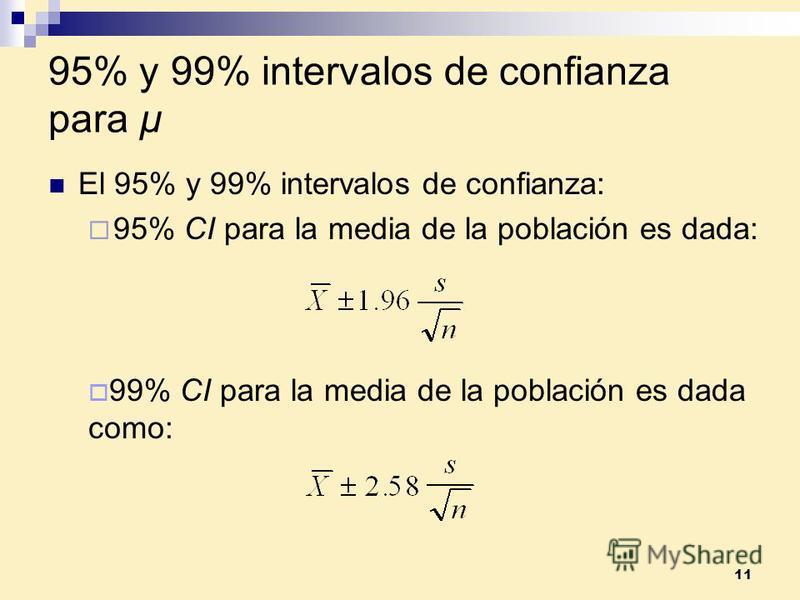 11 95% y 99% intervalos de confianza para µ El 95% y 99% intervalos de confianza: 95% CI para la media de la población es dada: 99% CI para la media de la población es dada como: