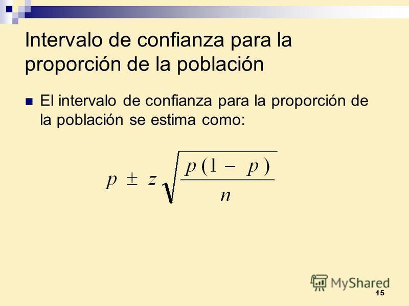 15 Intervalo de confianza para la proporción de la población El intervalo de confianza para la proporción de la población se estima como: