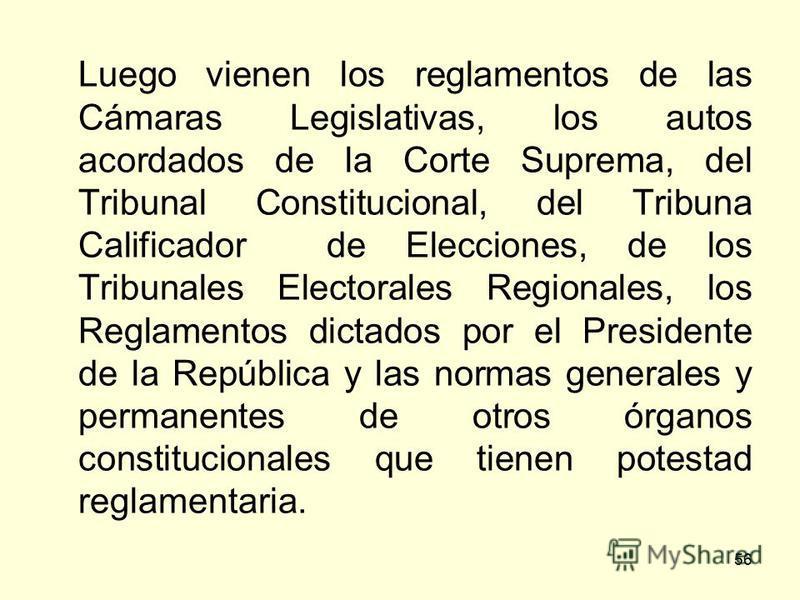 56 Luego vienen los reglamentos de las Cámaras Legislativas, los autos acordados de la Corte Suprema, del Tribunal Constitucional, del Tribuna Calificador de Elecciones, de los Tribunales Electorales Regionales, los Reglamentos dictados por el Presid