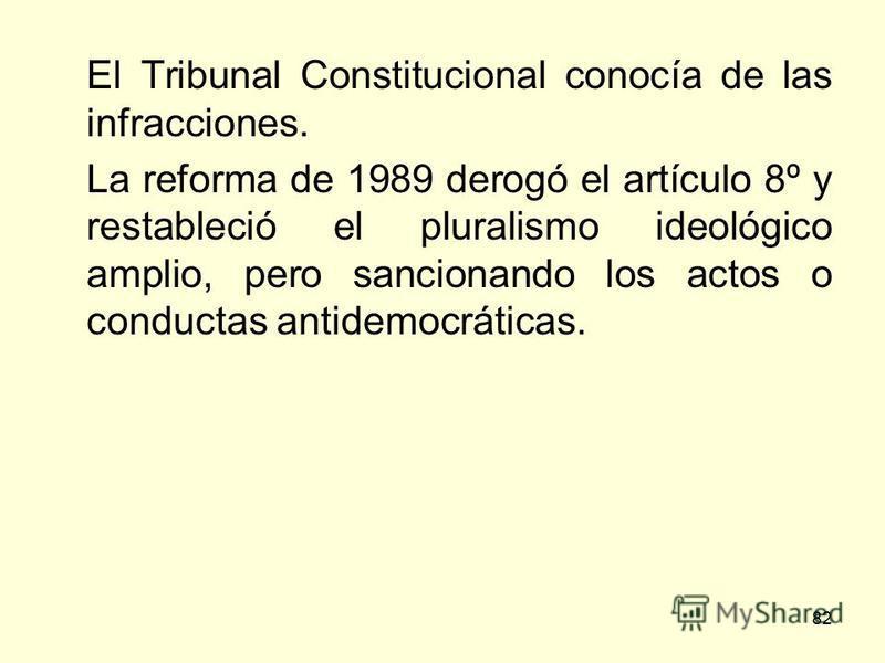 82 El Tribunal Constitucional conocía de las infracciones. La reforma de 1989 derogó el artículo 8º y restableció el pluralismo ideológico amplio, pero sancionando los actos o conductas antidemocráticas.