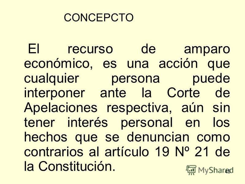 45 CONCEPCTO El recurso de amparo económico, es una acción que cualquier persona puede interponer ante la Corte de Apelaciones respectiva, aún sin tener interés personal en los hechos que se denuncian como contrarios al artículo 19 Nº 21 de la Consti