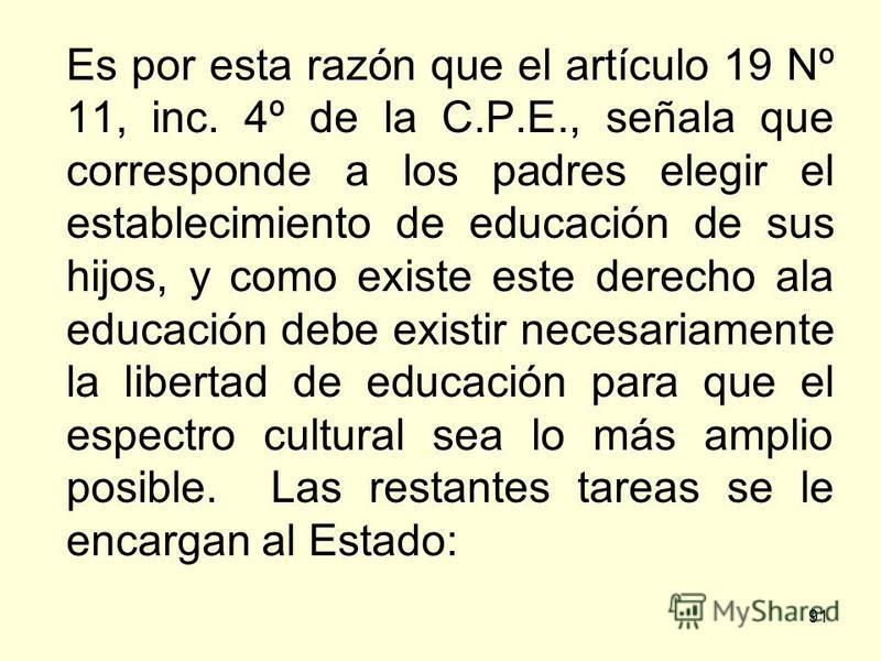 91 Es por esta razón que el artículo 19 Nº 11, inc. 4º de la C.P.E., señala que corresponde a los padres elegir el establecimiento de educación de sus hijos, y como existe este derecho ala educación debe existir necesariamente la libertad de educació