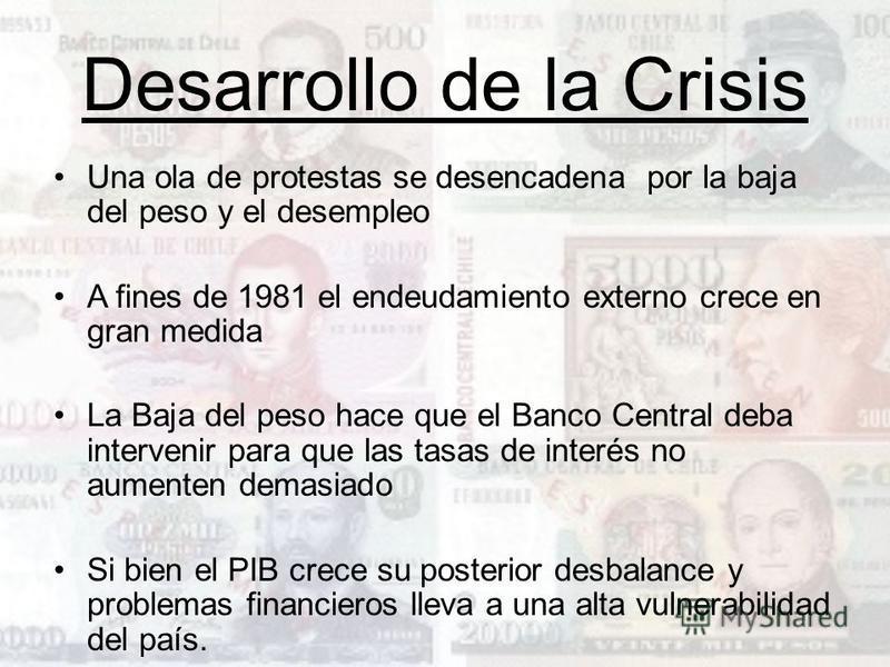 Desarrollo de la Crisis Una ola de protestas se desencadena por la baja del peso y el desempleo A fines de 1981 el endeudamiento externo crece en gran medida La Baja del peso hace que el Banco Central deba intervenir para que las tasas de interés no