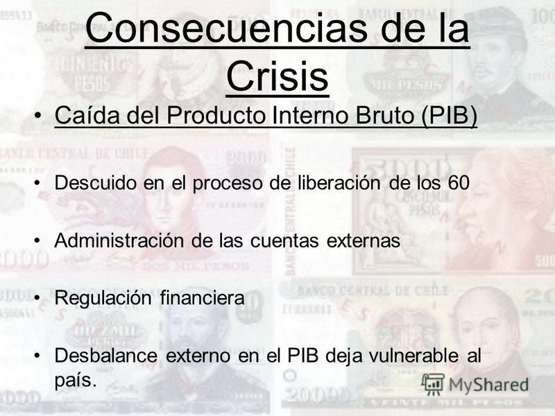 Consecuencias de la Crisis Caída del Producto Interno Bruto (PIB) Descuido en el proceso de liberación de los 60 Administración de las cuentas externas Regulación financiera Desbalance externo en el PIB deja vulnerable al país.