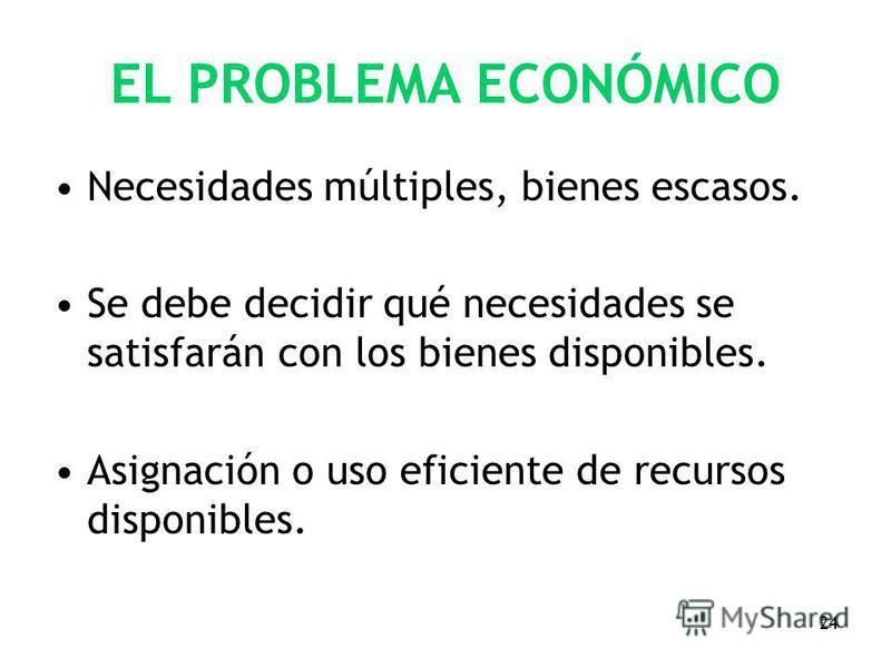 24 EL PROBLEMA ECONÓMICO Necesidades múltiples, bienes escasos. Se debe decidir qué necesidades se satisfarán con los bienes disponibles. Asignación o uso eficiente de recursos disponibles.