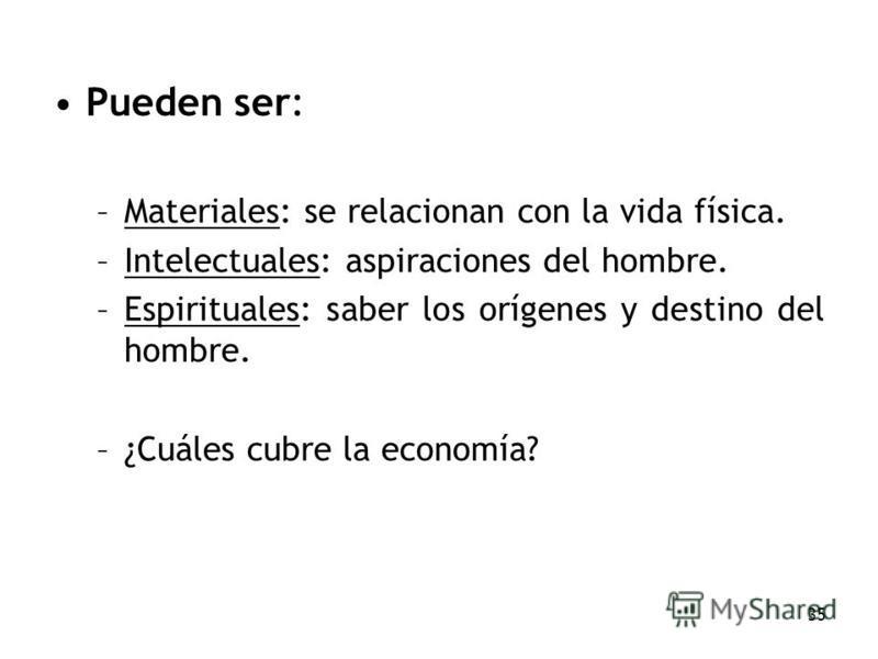 35 Pueden ser: –Materiales: se relacionan con la vida física. –Intelectuales: aspiraciones del hombre. –Espirituales: saber los orígenes y destino del hombre. –¿Cuáles cubre la economía?