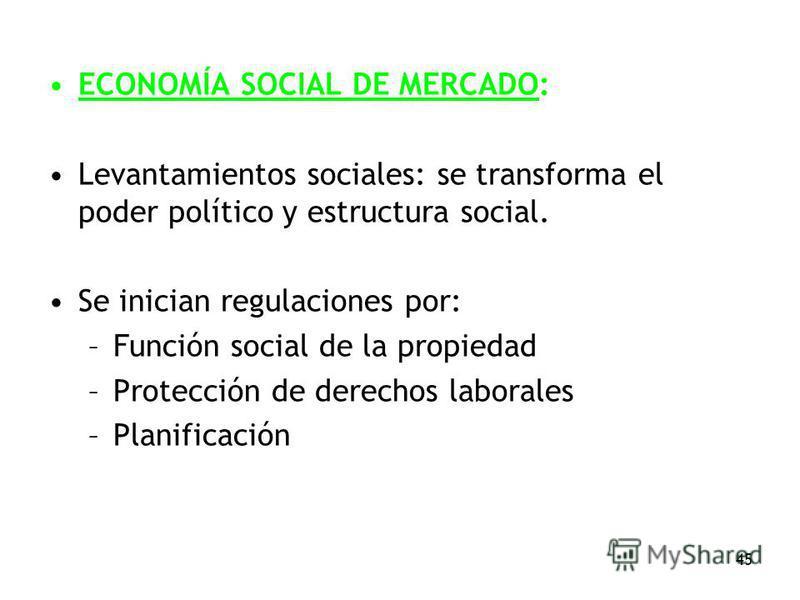 45 ECONOMÍA SOCIAL DE MERCADO: Levantamientos sociales: se transforma el poder político y estructura social. Se inician regulaciones por: –Función social de la propiedad –Protección de derechos laborales –Planificación