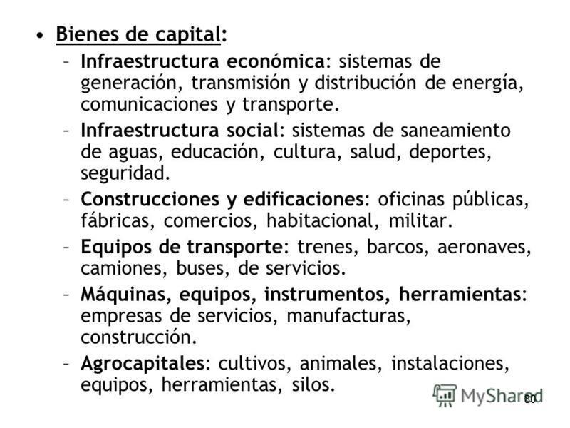 80 Bienes de capital: –Infraestructura económica: sistemas de generación, transmisión y distribución de energía, comunicaciones y transporte. –Infraestructura social: sistemas de saneamiento de aguas, educación, cultura, salud, deportes, seguridad. –