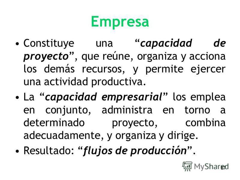 87 Empresa Constituye una capacidad de proyecto, que reúne, organiza y acciona los demás recursos, y permite ejercer una actividad productiva. La capacidad empresarial los emplea en conjunto, administra en torno a determinado proyecto, combina adecua