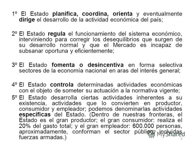 1º El Estado planifica, coordina, orienta y eventualmente dirige el desarrollo de la actividad económica del país; 2º El Estado regula el funcionamiento del sistema económico, interviniendo para corregir los desequilibrios que surgen de su desarrollo