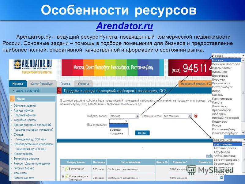 Особенности ресурсов Arendator.ru Арендатор.ру – ведущий ресурс Рунета, посвященный коммерческой недвижимости России. Основные задачи – помощь в подборе помещения для бизнеса и предоставление наиболее полной, оперативной, качественной информации о со
