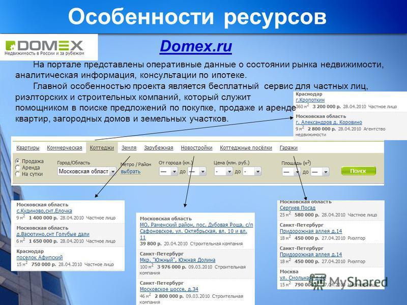 Особенности ресурсов Domex.ru На портале представлены оперативные данные о состоянии рынка недвижимости, аналитическая информация, консультации по ипотеке. Главной особенностью проекта является бесплатный сервис для частных лиц, риэлтерских и строите