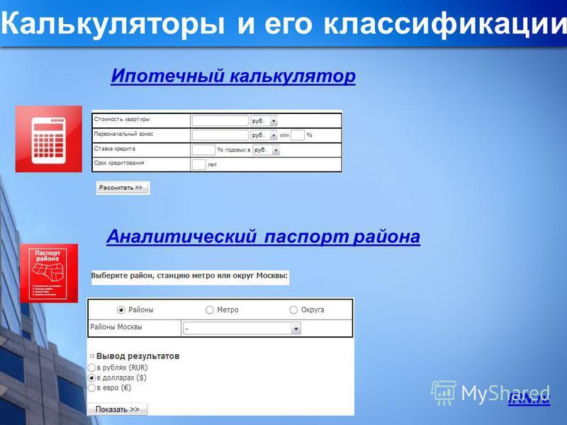 Аналитический паспорт района Ипотечный калькулятор Калькуляторы и его классификации IRN.ru