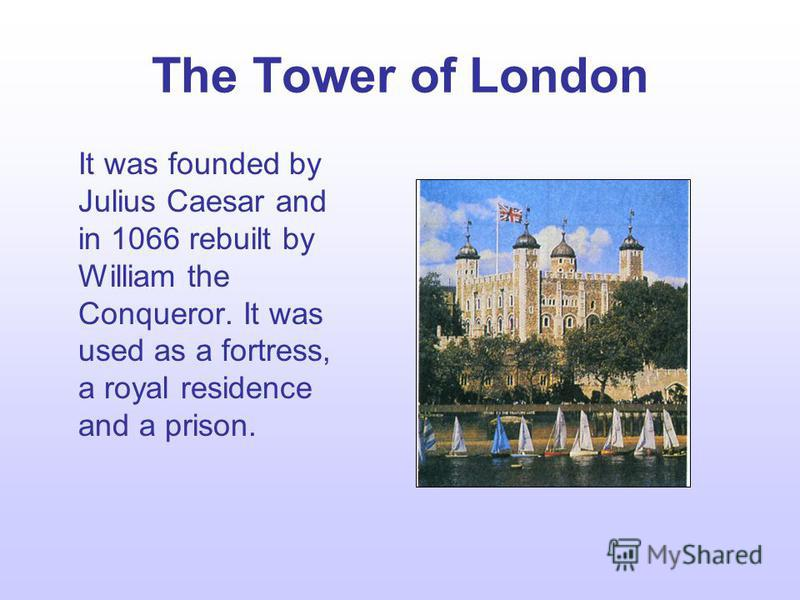 The places to visit London is the capital of England. It is its political and business centre. The heart of London is the City – its commercial and business centre. Here is situated the Tower of London that comes first among the historic buildings of