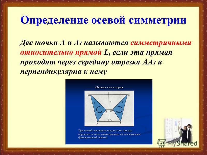Определение осевой симметрии Две точки А и А 1 называются симметричными относительно прямой L, если эта прямая проходит через середину отрезка АА 1 и перпендикулярна к нему