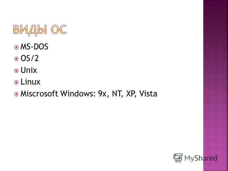 MS-DOS OS/2 Unix Linux Miscrosoft Windows: 9x, NT, XP, Vista