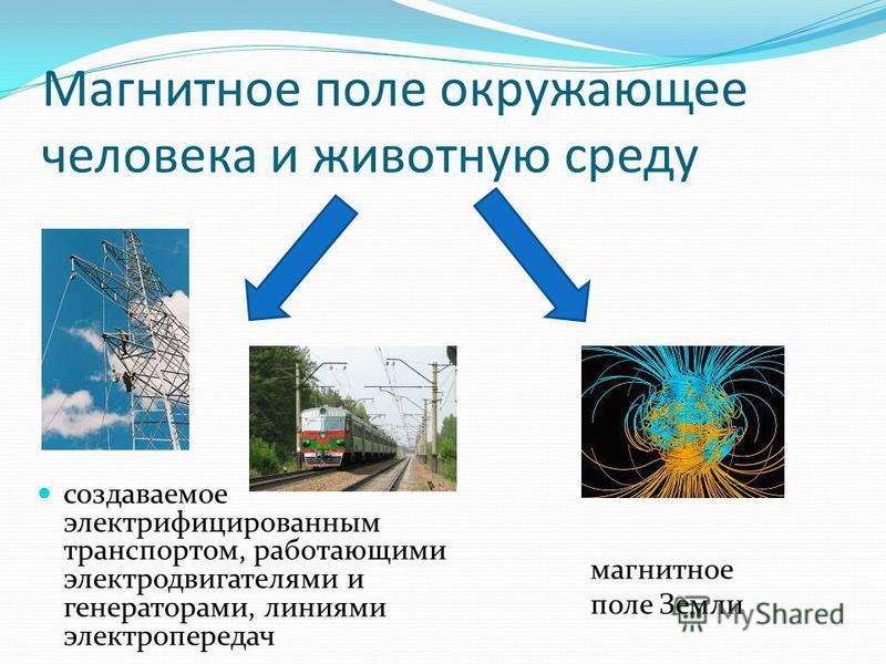 создаваемое электрифицированным транспортом, работающими электродвигателями и генераторами, линиями электропередач Магнитное поле окружающее человека и животную среду магнитное поле Земли