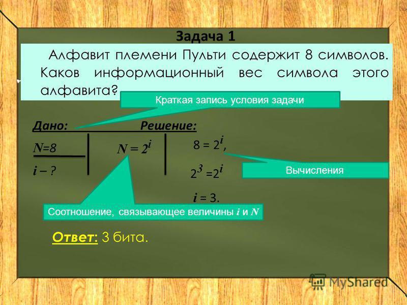 Задача 1 Алфавит племени Пульти содержит 8 символов. Каков информационный вес символа этого алфавита? Дано: Решение: N =8 i – ? N = 2 i 8 = 2 i, 2 3 =2 i i = 3. Краткая запись условия задачи Вычисления Соотношение, связывающее величины i и N Ответ :