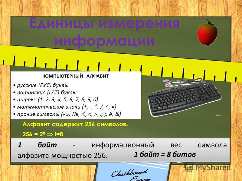 Единицы измерения информации КОМПЬЮТЕРНЫЙ АЛФАВИТ русские (РУС) буквы латинские (LAT) буквы цифры (1, 2, 3, 4, 5, 6, 7, 8, 9, 0) математические знаки (+, -, *, /, ^, =) прочие символы («»,, %,, :, ;, #, &) Алфавит содержит 256 символов. 256 = 2 8 i=8