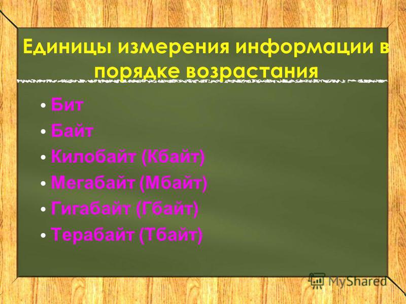 Единицы измерения информации в порядке возрастания Бит Байт Килобайт (Кбайт) Мегабайт (Мбайт) Гигабайт (Гбайт) Терабайт (Тбайт)
