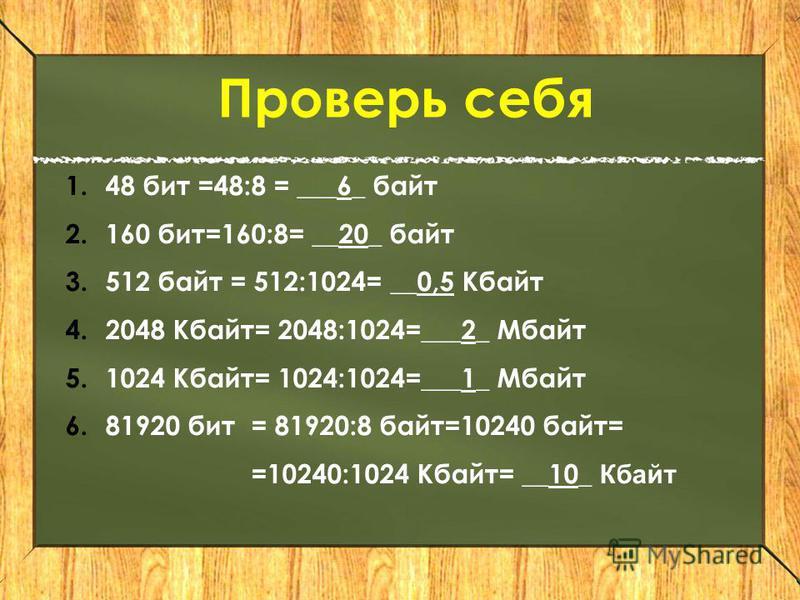 Проверь себя 1.48 бит =48:8 = ___6_ байт 2.160 бит=160:8= __20_ байт 3.512 байт = 512:1024= __0,5 Кбайт 4.2048 Кбайт= 2048:1024=___2_ Мбайт 5.1024 Кбайт= 1024:1024=___1_ Мбайт 6.81920 бит= 81920:8 байт=10240 байт= =10240:1024 Кбайт= __10_ Кбайт