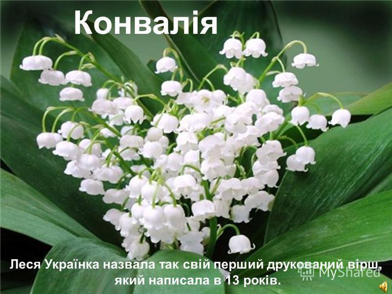 Free Powerpoint TemplatesPage 8 Незгасна зоря України Леся Українка назвала так свій перший друкований вірш, який написала в 13 років. Конвалія