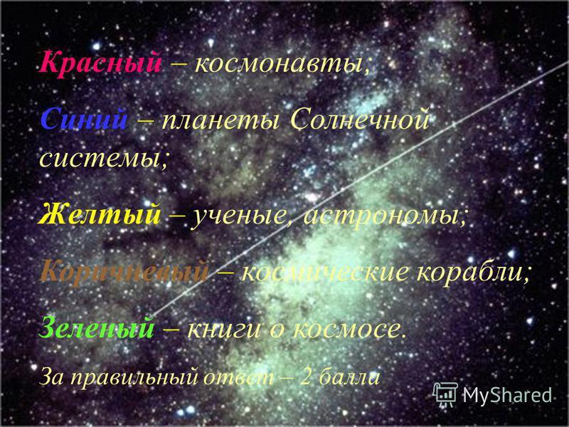 Красный – космонавты; Синий – планеты Солнечной системы; Желтый – ученые, астрономы; Коричневый – космические корабли; Зеленый – книги о космосе. За правильный ответ – 2 балла