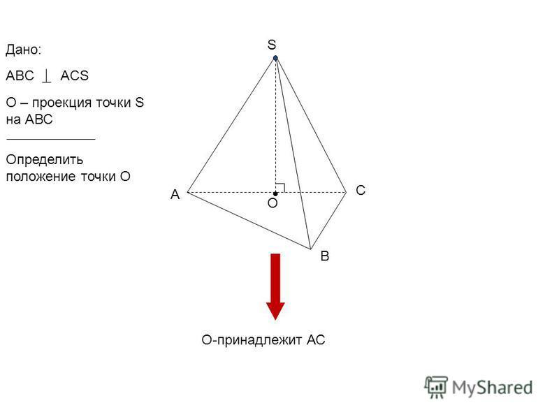 A B C S O Дано: ABCACS Определить положение точки О O-принадлежит АС O – проекция точки S на АВС