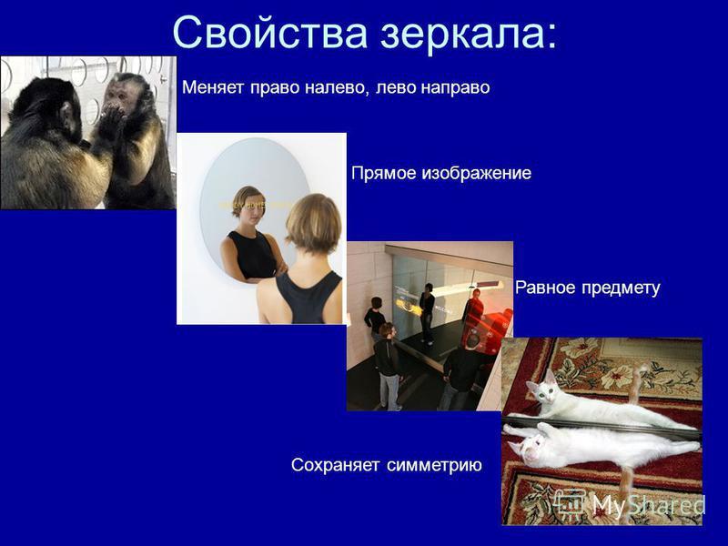 Свойства зеркала: Меняет право налево, лево направо Прямое изображение Равное предмету Сохраняет симметрию
