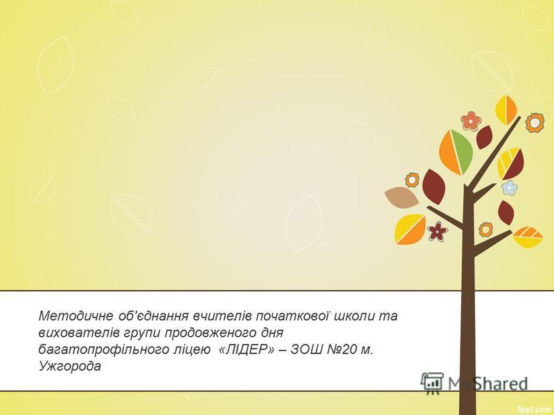 Методичне об'єднання вчителів початкової школи та вихователів групи продовженого дня багатопрофільного ліцею «ЛІДЕР» – ЗОШ 20 м. Ужгорода