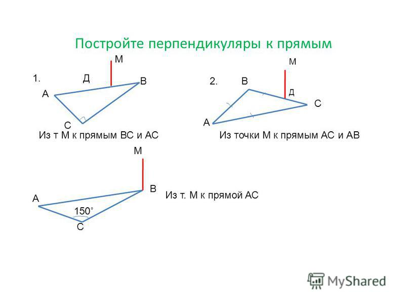 Постройте перпендикуляры к прямым А В С Д М Из т М к прямым ВС и АС 1. А В С Д М Из точки М к прямым АС и АВ 2. В А С М 150˚ Из т. М к прямой АС