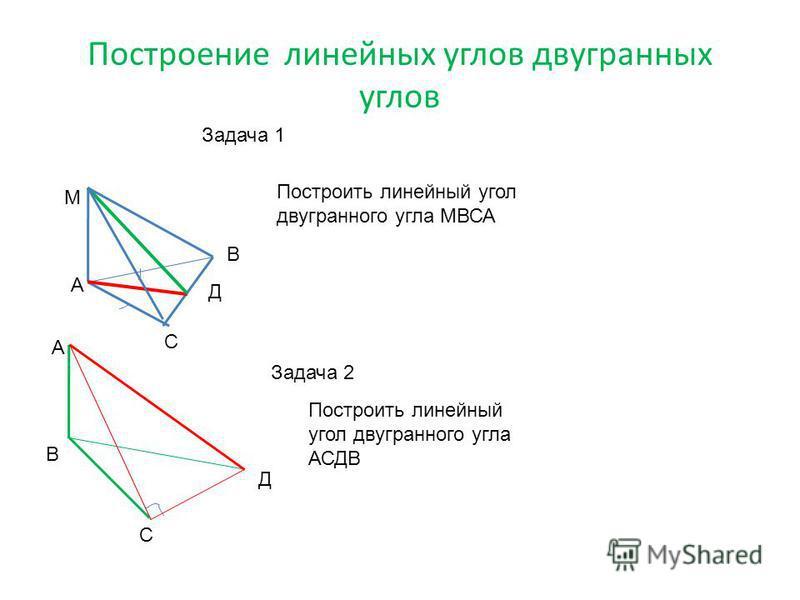 Построение линейных углов двугранных углов Задача 1 А М В С Д Построить линейный угол двугранного угла МВСА Задача 2 Построить линейный угол двугранного угла АСДВ А В С Д