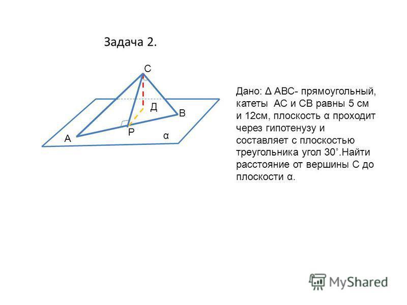 Задача 2. α С В А Д Р Дано: Δ АВС- прямоугольный, катеты АС и СВ равны 5 см и 12 см, плоскость α проходит через гипотенузу и составляет с плоскостью треугольника угол 30˚.Найти расстояние от вершины С до плоскости α.