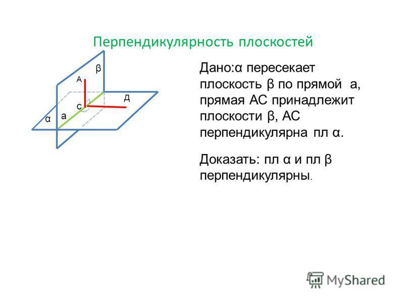 Перпендикулярность плоскостей β α с д А Дано:α пересекает плоскость β по прямой а, прямая АС принадлежит плоскости β, АС перпендикулярна пл α. Доказать: пл α и пл β перпендикулярны. а