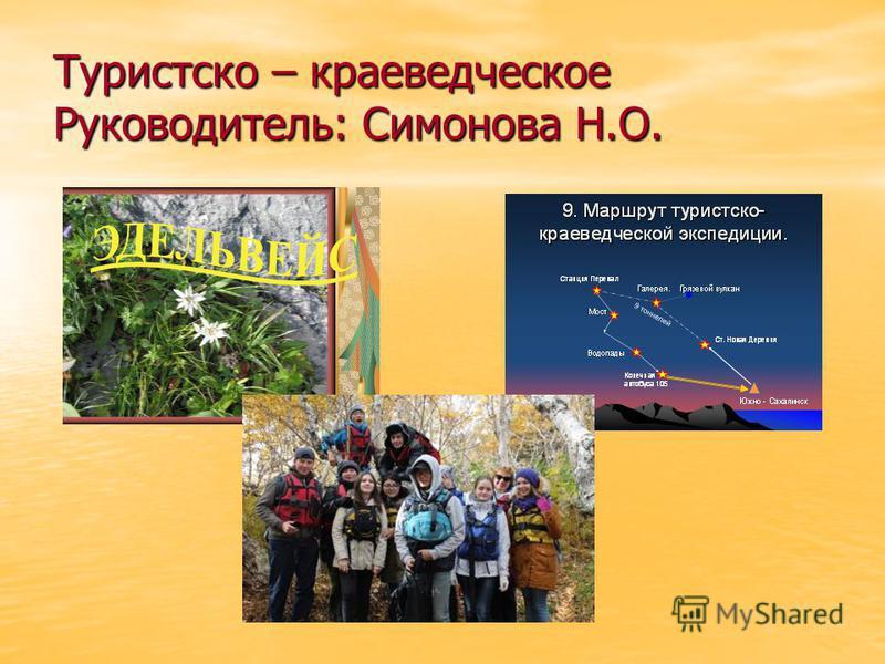 Туристско – краеведческое Руководитель: Симонова Н.О.