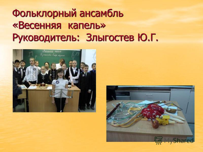 Фольклорный ансамбль «Весенняя капель» Руководитель: Злыгостев Ю.Г.