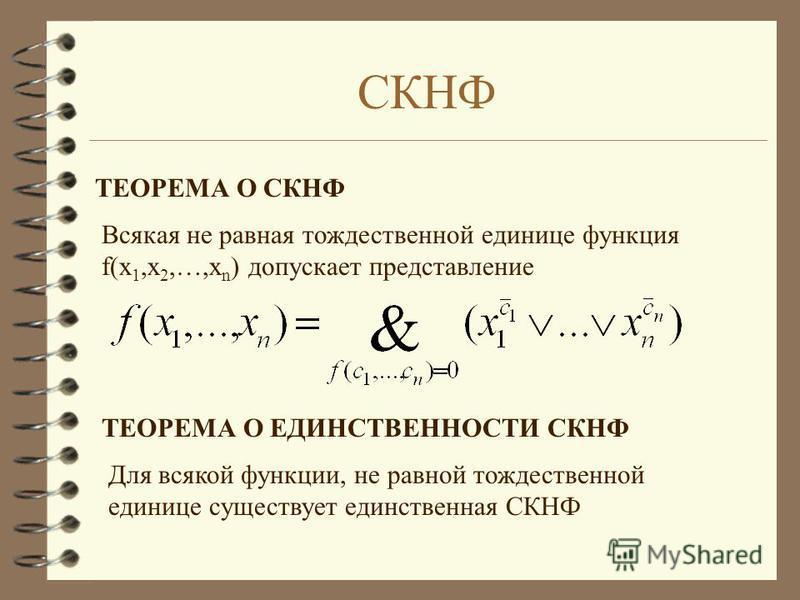 СКНФ ТЕОРЕМА О СКНФ Всякая не равная тождественной единице функция f(x 1,x 2,…,x n ) допускает представление ТЕОРЕМА О ЕДИНСТВЕННОСТИ СКНФ Для всякой функции, не равной тождественной единице существует единственная СКНФ