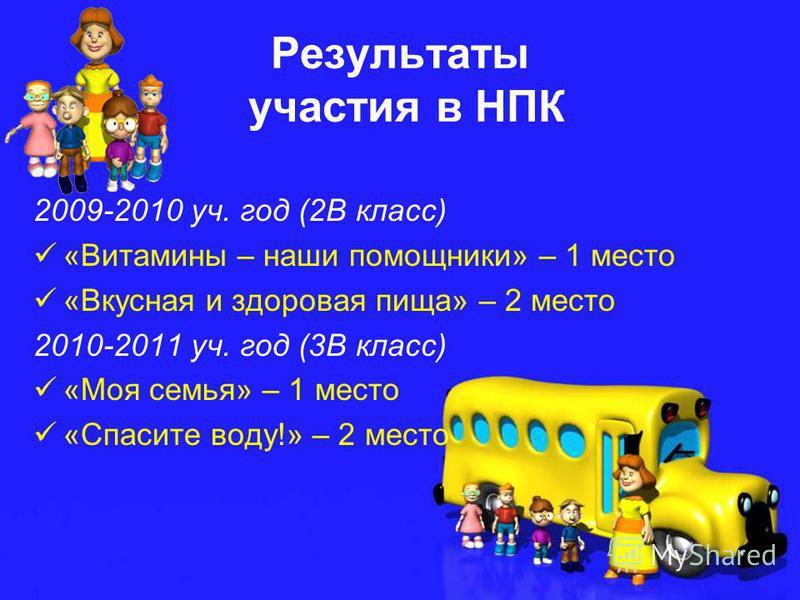 Результаты участия в НПК 2009-2010 уч. год (2В класс) «Витамины – наши помощники» – 1 место «Вкусная и здоровая пища» – 2 место 2010-2011 уч. год (3В класс) «Моя семья» – 1 место «Спасите воду!» – 2 место