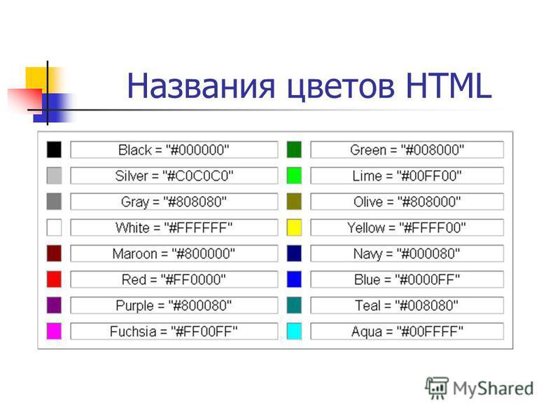 Названия цветов HTML