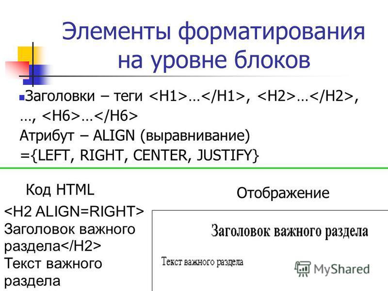 Элементы форматирования на уровне блоков Заголовки – теги …, …, …, … Атрибут – ALIGN (выравнивание) ={LEFT, RIGHT, CENTER, JUSTIFY} Заголовок важного раздела Текст важного раздела Код HTML Отображение