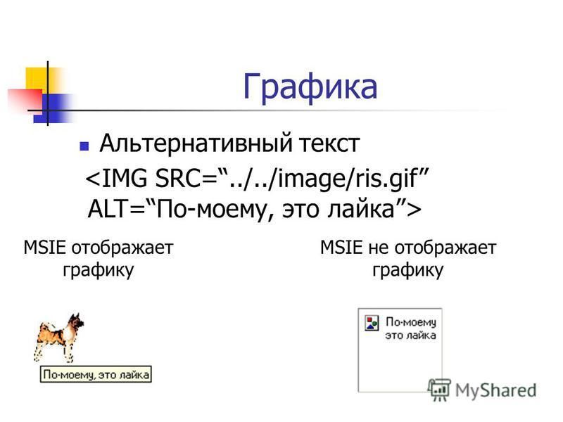 Графика Альтернативный текст <IMG SRC=../../image/ris.gif ALT=По-моему, это лайка> MSIE отображает графику MSIE не отображает графику