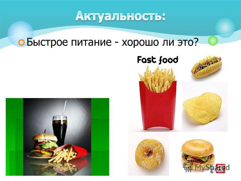 Быстрое питание - хорошо ли это?