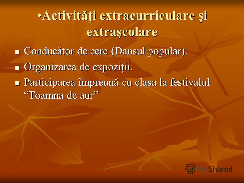 Activităţi extracurriculare şi extraşcolareActivităţi extracurriculare şi extraşcolare Conducător de cerc (Dansul popular). Conducător de cerc (Dansul popular). Organizarea de expoziţii. Organizarea de expoziţii. Participarea împreună cu clasa la fes